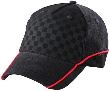 MB6560 5 Panel Racing Cap Embossed - Zwart/zwart/rood - One size