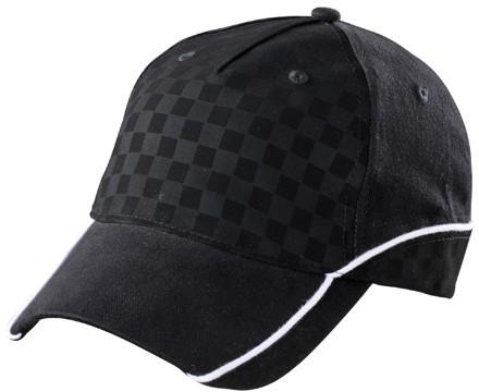 MB6560 5 Panel Racing Cap Embossed - Zwart/zwart/wit - One size