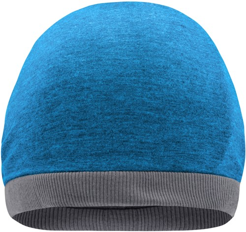 MB6577 Heather Summer Beanie - Turquoise-melange/donkergrijs - One size