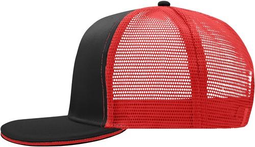 MB6635 Pro Cap Mesh 6 Panel - Zwart/rood - One size