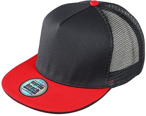 MB6636 Pro Cap Mesh 5 Panel - Zwart/rood - One size