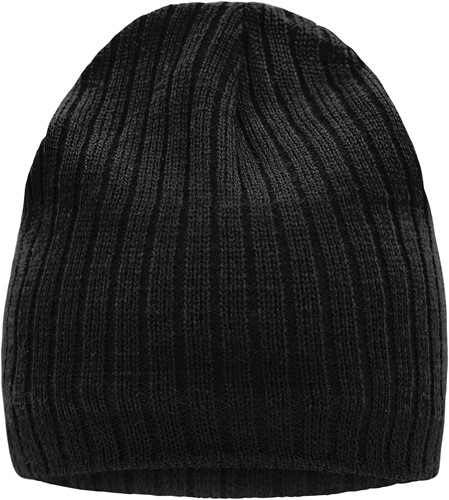 MB7102 Knitted Hat - Zwart/zwart - One size