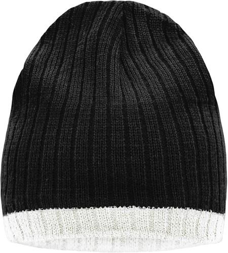 MB7102 Knitted Hat - Zwart/gebroken wit - One size