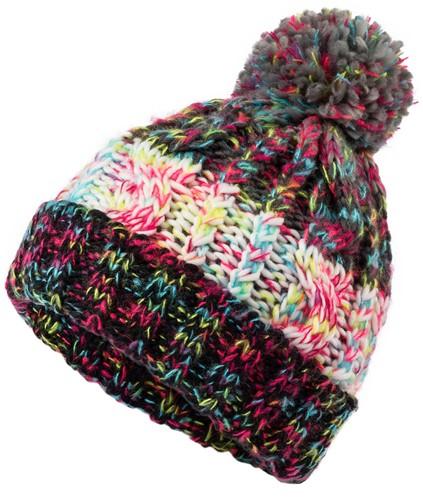 MB7104 Fancy Yarn Hat - Zwart-melange - One size