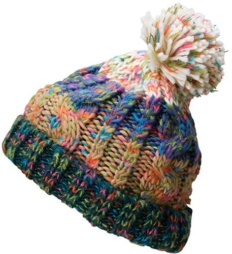 MB7104 Fancy Yarn Hat - Donkergroen melange - One size