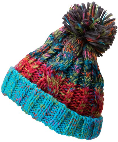 MB7104 Fancy Yarn Hat - Turquoise-melange - One size