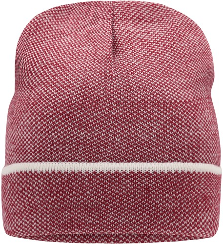 MB7117 Elegant Knitted Beanie - Indianenrood/wit - One size