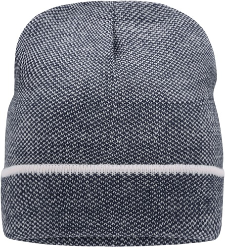 MB7117 Elegant Knitted Beanie - Navy/wit - One size