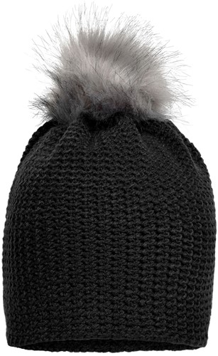 MB7120 Fine Crocheted Beanie - Zwart/zilver - One size