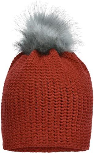 MB7120 Fine Crocheted Beanie - Verbrand-oranje/zilver - One size