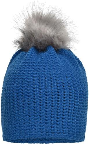 MB7120 Fine Crocheted Beanie - Kobalt/zilver - One size