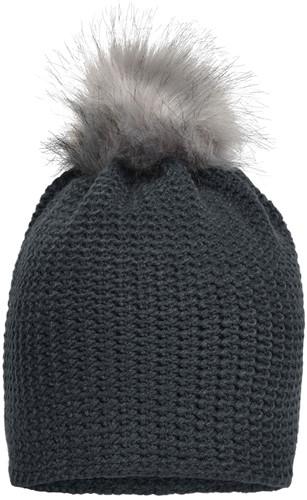 MB7120 Fine Crocheted Beanie - Grafiet/zilver - One size