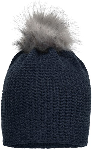 MB7120 Fine Crocheted Beanie - Navy/zilver - One size