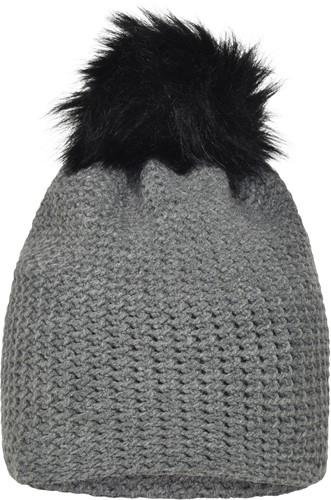 MB7120 Fine Crocheted Beanie - Zilver-melange/zwart - One size