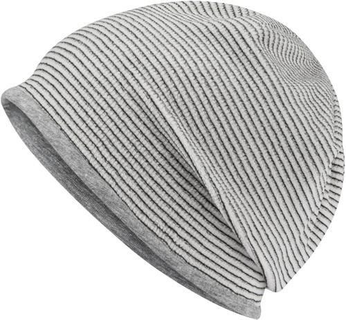 MB7127 Structured Beanie - Gebroken wit/heather grijs - One size
