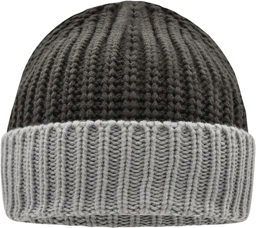 MB7128 Soft Knitted Beanie - Carbon/lightgrijs - One size