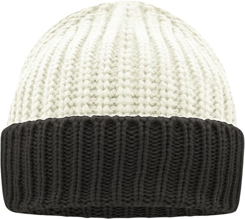 MB7128 Soft Knitted Beanie - Gebroken wit/carbon - One size