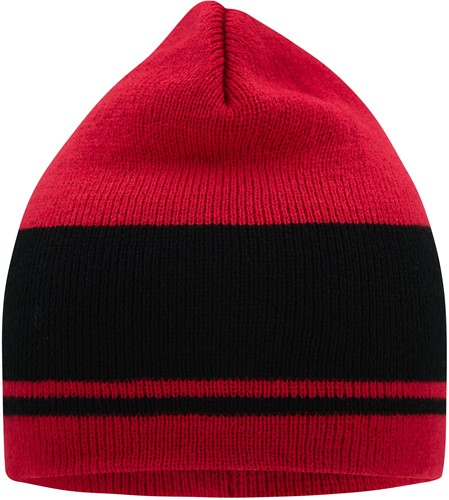 MB7130 Knitted Beanie - Dieprood/zwart - One size