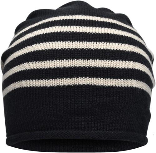 MB7132 Fine Knitted Beanie - Zwart/zand - One size