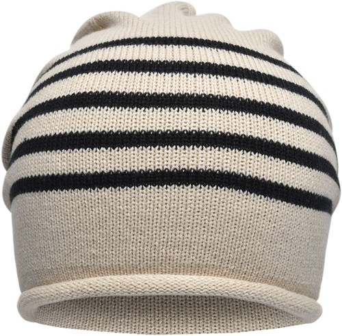 MB7132 Fine Knitted Beanie - Zand/zwart - One size