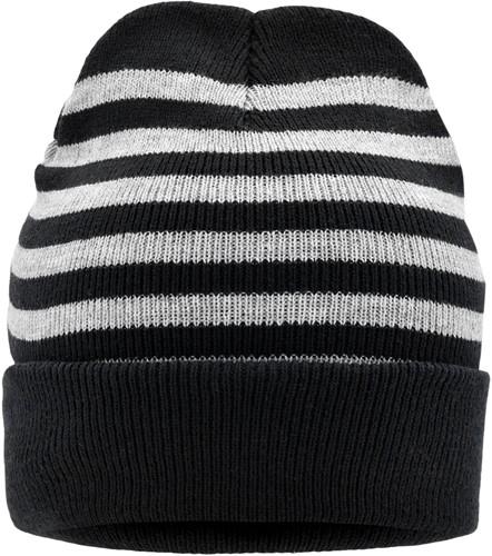 MB7138 Striped Winter Beanie - Zwart/lichtgrijs-melange - One size