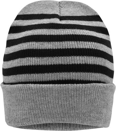 MB7138 Striped Winter Beanie - Lichtgrijs-melange/zwart - One size