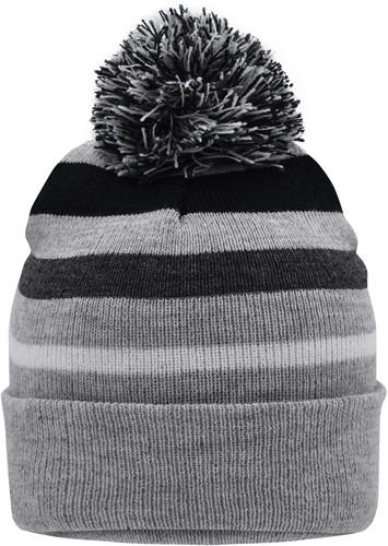 MB7140 Striped Winter Beanie with Pompon - Lichtgrijs-melange/zwart - One size