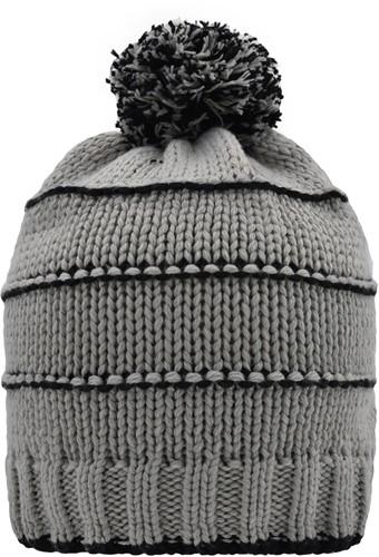 MB7144 Knitted Winter Beanie with Pompon - Lichtgrijs/zwart - One size