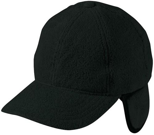 MB7510 6 Panel Fleece Cap with Earflaps - Zwart - One size
