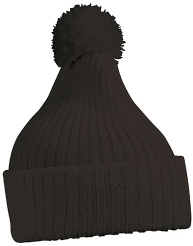 MB7540 Knitted Cap with Pompon - Zwart - One size