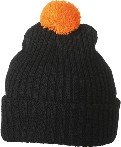 MB7540 Knitted Cap with Pompon - Zwart/oranje - One size