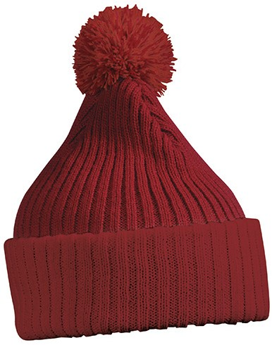 MB7540 Knitted Cap with Pompon - Dieprood - One size