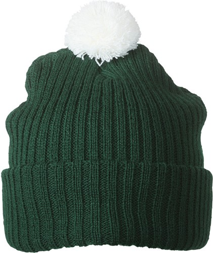 MB7540 Knitted Cap with Pompon - Donkergroen/wit - One size