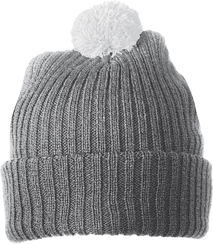 MB7540 Knitted Cap with Pompon - Donkergrijs/lichtgrijs - One size