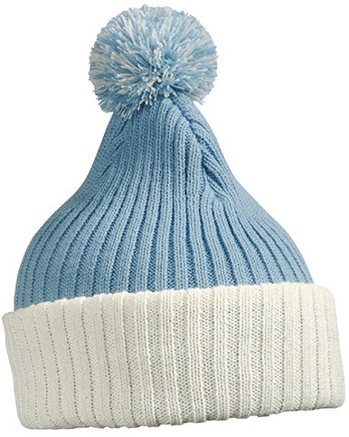 MB7540 Knitted Cap with Pompon - Lichtblauw/gebroken wit - One size