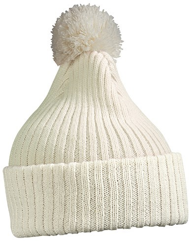 MB7540 Knitted Cap with Pompon - Gebroken-wit - One size