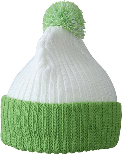 MB7540 Knitted Cap with Pompon - Wit/limegroen - One size