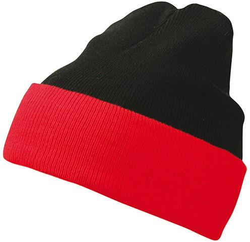 MB7550 Knitted Cap - Zwart/rood - One size
