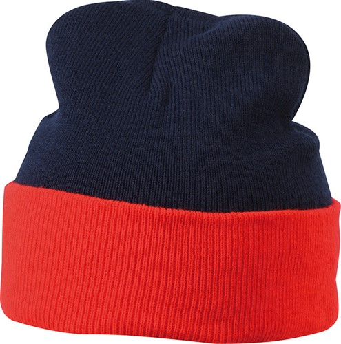 MB7550 Knitted Cap - Navy/rood - One size