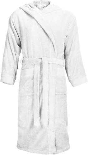 T1-BH Bathrobe hooded - White - S/M