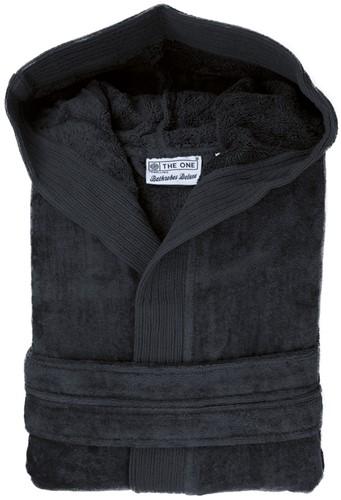 T1-BVELOUR Velour bathrobe hooded - Anthracite - S/M