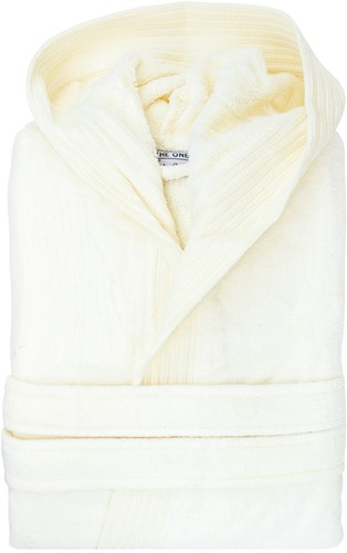 T1-BVELOUR Velour bathrobe hooded - Ivory cream - L/XL
