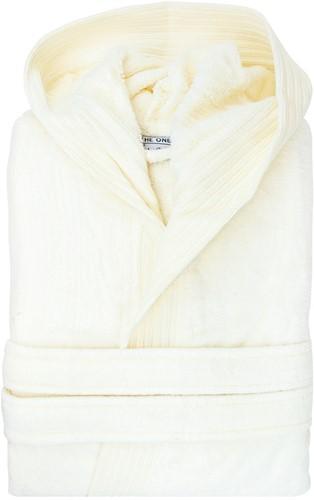 T1-BVELOUR Velour bathrobe hooded - Ivory cream - S/M