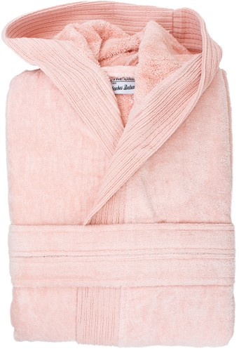 T1-BVELOUR Velour bathrobe hooded - Salmon - S/M