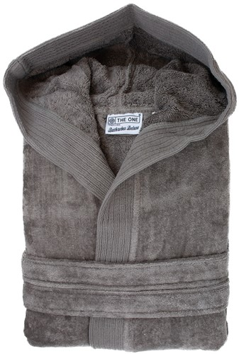 T1-BVELOUR Velour bathrobe hooded - Taupe - 2XL/3XL