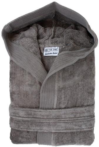 T1-BVELOUR Velour bathrobe hooded - Taupe - S/M