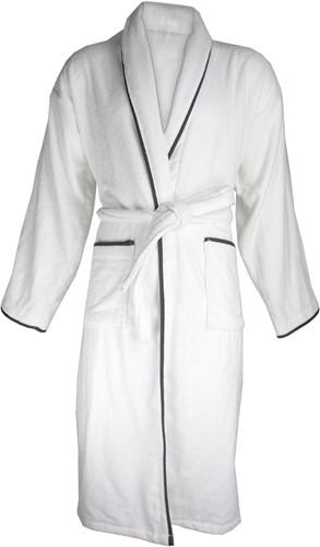 T1-BVELOURW Velour bathrobe piped - White/anthracite - S/M