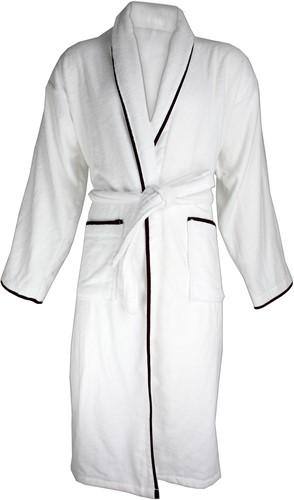 T1-BVELOURW Velour bathrobe piped - White/black - S/M