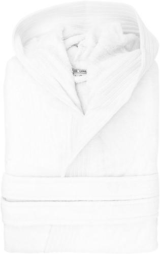T1-BVELOUR Velour bathrobe hooded - White - 2XL/3XL
