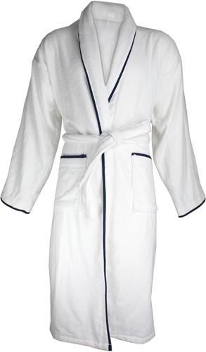 T1-BVELOURW Velour bathrobe piped - White/navy blue - S/M